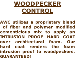 WOODPECKER CONTROL  AWC utilizes a proprietary blend  of fiber and polymer modified cementicious mix to apply an INTRUSION PROOF HARD COAT over architectural foam. Our hard coat renders the foam intrusion proof to woodpeckers. GUARANTEED!